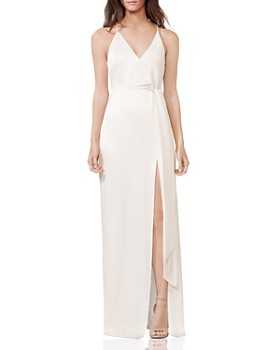 HALSTON - Sleeveless V-Neck Satin Gown