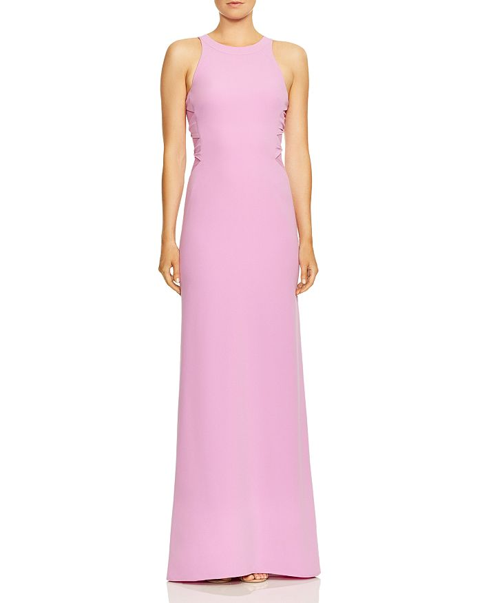 HALSTON HERITAGE - Twist Mesh High-Neck Gown