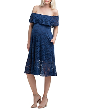 Nom Maternity Lucia Lace Off-the-Shoulder Maternity Dress-Women