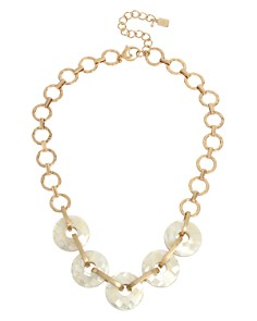 Robert Lee Morris Soho - Geometric Shell Ring Necklace, 18""