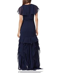 HALSTON HERITAGE - Cape Sleeve Ruffle Gown