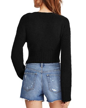 Free People -  Ribbed Faux-Wrap Sweater