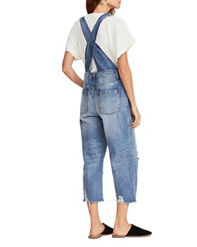 Free People - Distressed Cropped Denim Overalls