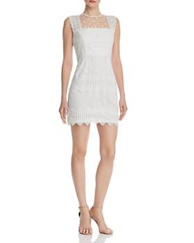 14c90bdd97f AQUA - Flocked Lace-Trim Sheath Dress - 100% Exclusive ...