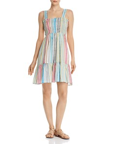 AQUA - Smocked Rainbow-Stripe Dress - 100% Exclusive