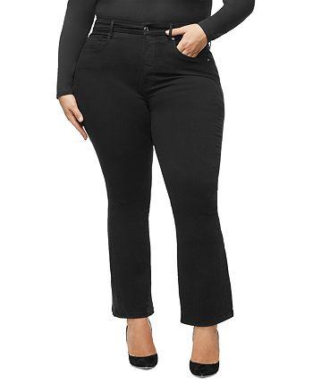 Good American - Crop Flare Jeans in Black001