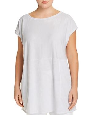 Eileen Fisher Plus Organic Cotton Striped Tunic Tee