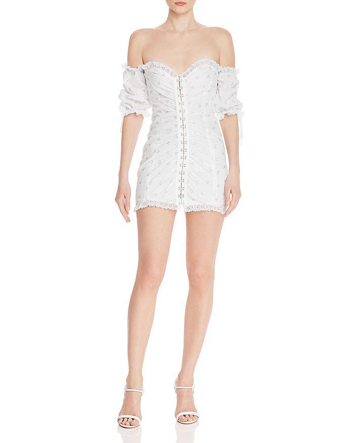 d88d2cb3de1e5 For Love & Lemons Magnolia Off-the-Shoulder Mini Dress | Bloomingdale's