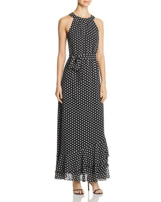 Sleeveless Dot Print Maxi Dress by Calvin Klein