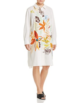 374ad3fa23ee Lafayette 148 New York Plus - Porto Floral-Print Cotton Shirt Dress ...