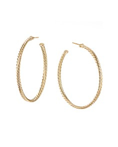 David Yurman - 18K Yellow Gold Cable Spiral Hoop Earrings