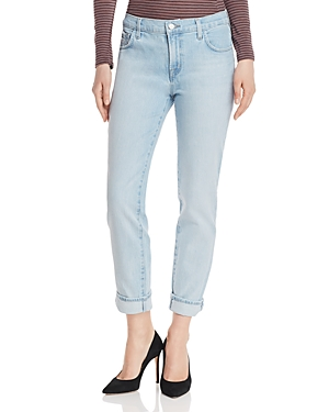 J Brand Jeans JOHNNY HIGH-RISE BOYFRIEND JEANS IN STRATOSPHERE DESTRUCT