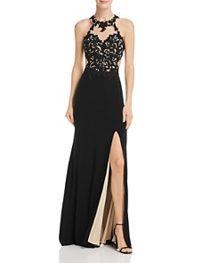 Avery G - Embroidered Illusion Gown