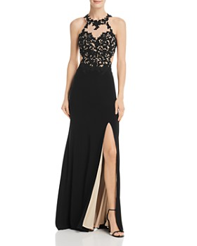 c7f21ebce34af Avery G - Embroidered Illusion Gown ...