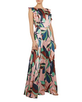 Ted Baker - Petunar Supernatural-Print Satin Gown