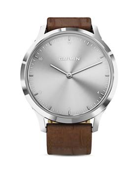 Garmin - Vivomove HR Brown Alligator-Embossed Leather Strap Touchscreen Hybrid Smartwatch, 43mm