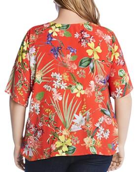 Karen Kane Plus - Floral-Print Tie-Front Top
