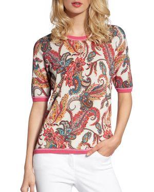 BASLER | Basler Paisley Short-Sleeve Sweater | Goxip