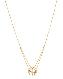 Madhuri Parson - 14K Yellow Gold Diamond Essentials Peacock Feather Two-Tiered Necklace, 18.5""