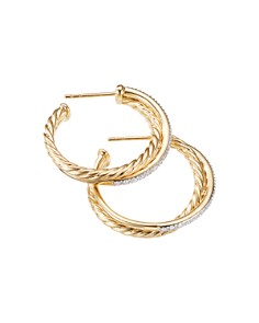 David Yurman - Crossover Medium Hoop Earrings in 18K Yellow Gold with Diamonds