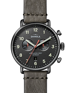 Shinola Accessories THE CANFIELD DARK GRAY LEATHER STRAP CHRONOGRAPH, 43MM