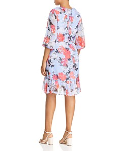 Adrianna Papell Plus - Ruffled Floral-Print Dress