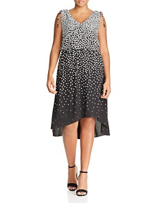Adrianna Papell Plus - Sleeveless Dot-Print Dress