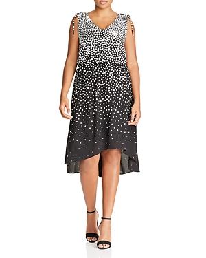 Adrianna Papell Plus Sleeveless Dot Print Dress