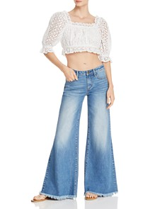 AQUA - Eyelet Cropped Top - 100% Exclusive