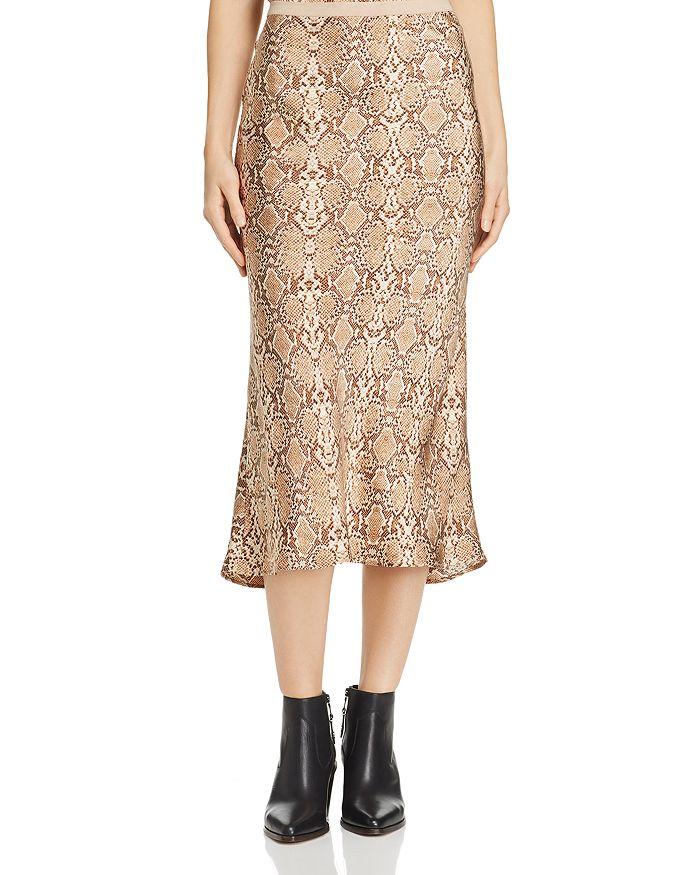 Anine Bing - Bar Snakeskin-Printed Silk Skirt