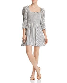 04dcf289f28 AQUA - Seersucker Smocked Puff-Sleeve Dress - 100% Exclusive ...