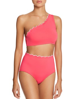 kate spade new york - Contrast Scalloped One-Shoulder Bikini Top & Contrast Scalloped High-Waist Bikini Bottom