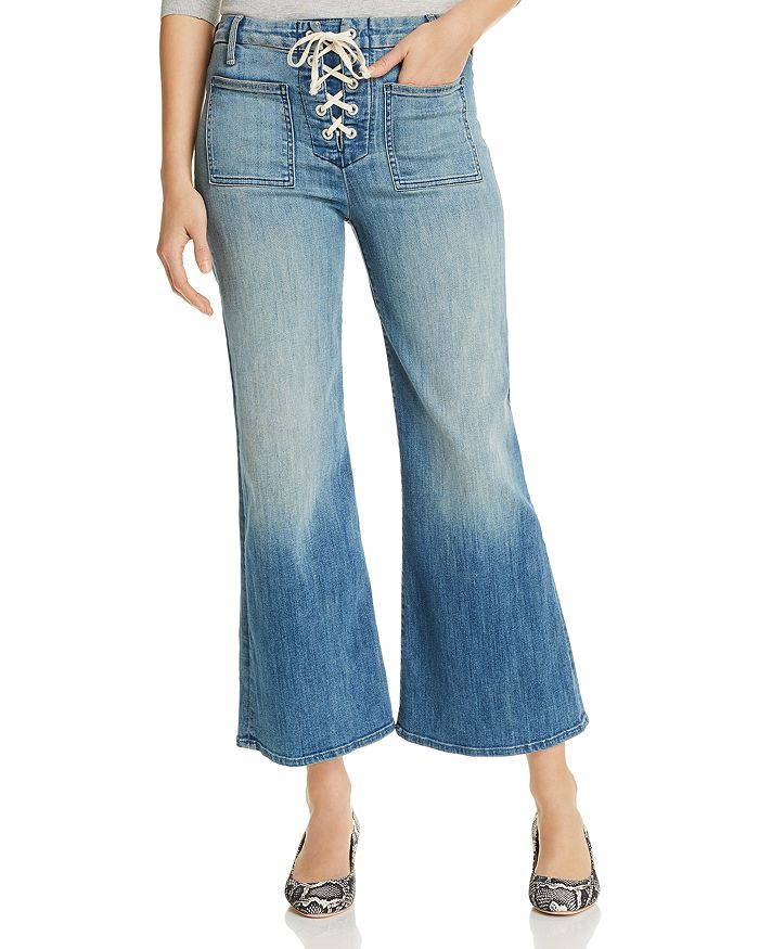 MOTHER - The Lace-Up Roller Cropped Jeans in Where There's Smoke