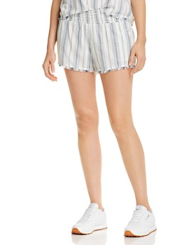 Bella Dahl - Frayed-Hem Striped Shorts