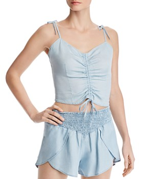 GUESS - Ruched Drawstring Chambray Cropped Top