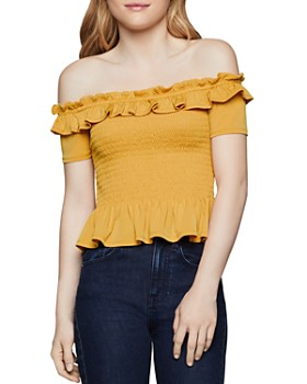 29ca2b57f4fb0 BCBGENERATION - Smocked Off-the-Shoulder Top ...