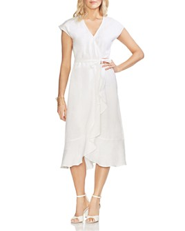 VINCE CAMUTO - Faux-Wrap Linen Dress