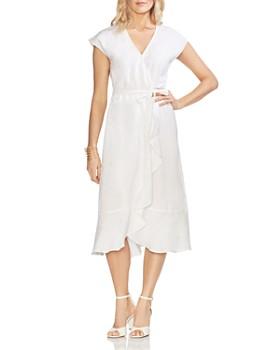 VINCE CAMUTO - Faux-Wrap Linen Dress