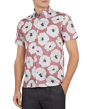 Ted Baker Leave Slim Fit Flower Print Short Sleeve Button-Down Shirt In Lilac