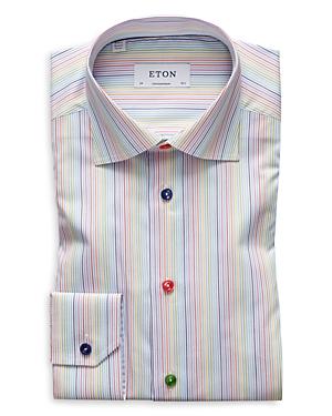 Eton Dresses MULTI STRIPE SLIM FIT DRESS SHIRT