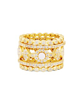 Freida Rothman - Color Stacking Rings in 14K Gold-Plated Sterling Silver, Set of 5