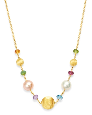 Marco Bicego 18K Yellow Gold Africa Gemstone Pearl Beaded Collar Necklace, 16-Jewelry & Accessories