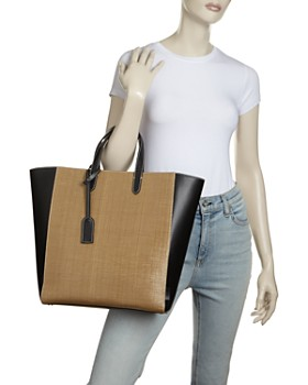VASIC - Day Straw & Leather Tote