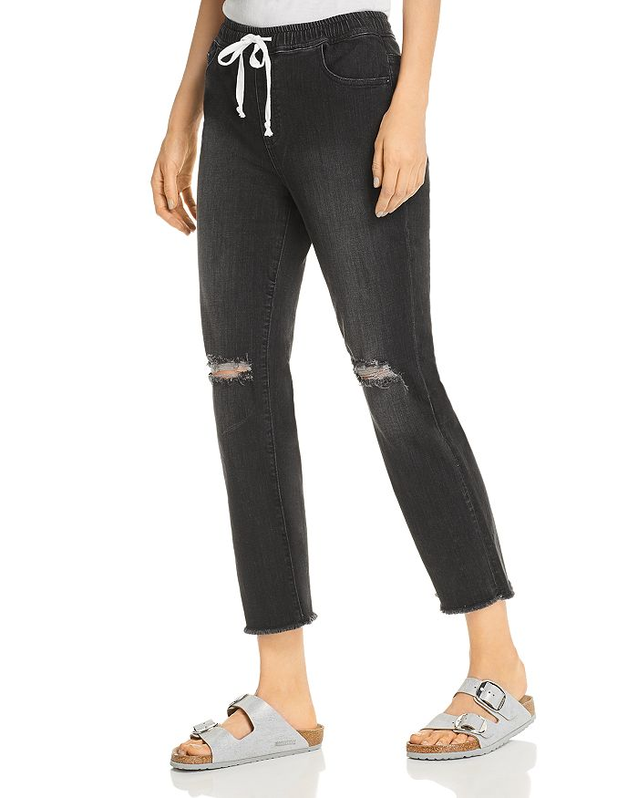 Billy T - Tie-Waist Distressed Cropped Jeans in Black