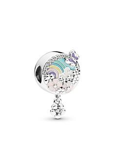 PANDORA - Sterling Silver & Multicolored Enamel Flower & Rainbow Charm
