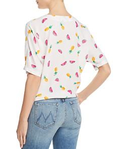 AQUA - Fruit-Print Tie-Front Top - 100% Exclusive