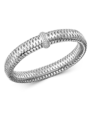 Roberto Coin 18K White Gold Primavera Large Diamond Flexible Bangle Bracelet-Jewelry & Accessories