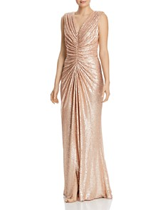 Tadashi Shoji - Sequined Ruched Gown