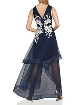 BCBGMAXAZRIA - Appliquéd High/Low Tulle Gown