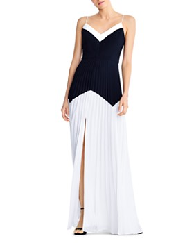 Aidan by Aidan Mattox - Pleated Color-Blocked Gown